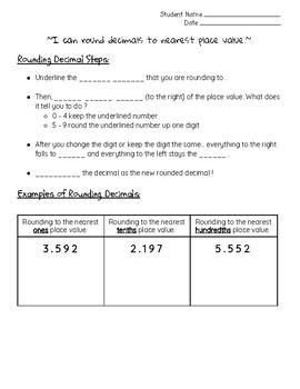 Rounding Decimal Notes