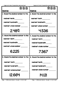 Rounding Decimal Numbers Cooperative Learning Activity