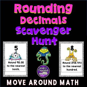 Rounding Decimal Numbers Scavenger Hunt with hint boxes