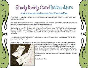 Rounding Decimal Numbers Study Buddy Cards