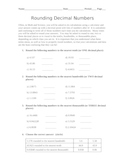 Rounding Decimal Numbers with Answer Key