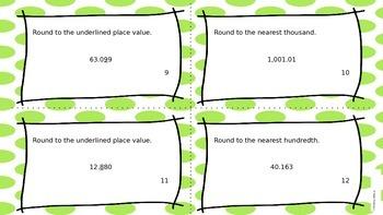 Rounding Decimal Task Cards