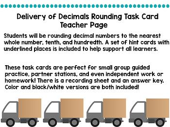 Rounding Decimal Task Cards Whole Number Tenth Hundredth