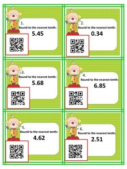 Rounding Decimals game (with & without QR codes)