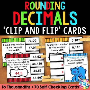Rounding Decimals Task Cards: Rounding Decimals to Thousandths {5.NBT.4}