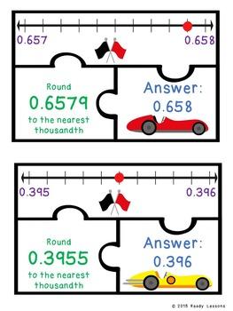 Rounding Decimals Game Puzzles - Whole, Tenth, Hundredth, Thousandth - 5.NBT.4