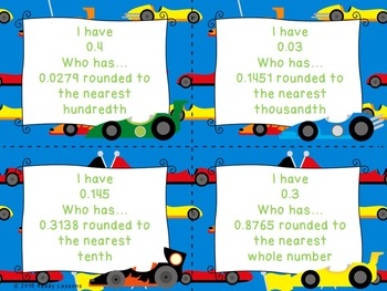 I Have Who Has Rounding Decimals Game (Whole Tenth Hundredth Thousandth) 5.NBT.4