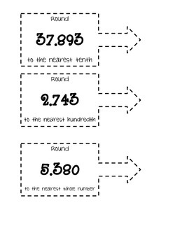 Rounding Decimals for Student Notebooks