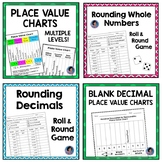 Place Value Charts with Rounding Decimals and Whole Numbers Games {Printable}