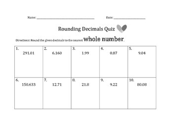 Rounding Decimals Assessments