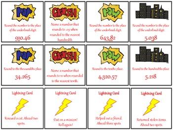 Rounding Decimals Board Game - Super Hero Theme