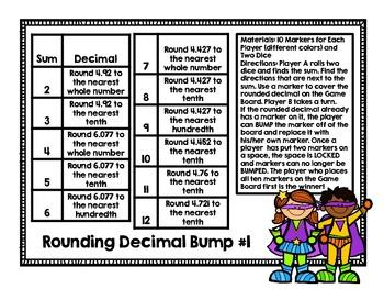 Rounding Decimals Bump-Two Games for Rounding Decimals Through Thousandths