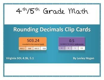 Rounding Decimals Clip Cards (self-checking)