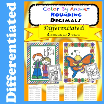 Rounding Decimals Color by Answer Differentiated Fun Pages