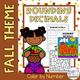 Rounding Decimals Color by Number-Fall Theme