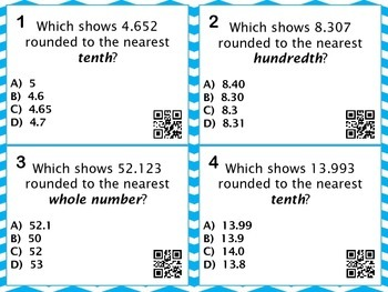 Rounding Decimals Concepts Task Cards with QR Codes