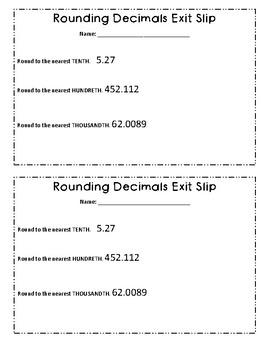 Rounding Decimals Exit Slip