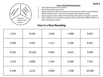 Rounding Decimals: Four in a Row Game