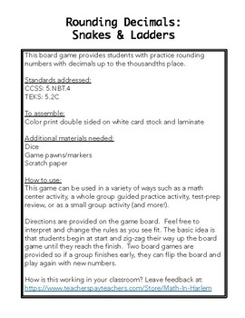 Rounding Decimals Game - Snakes and Ladders
