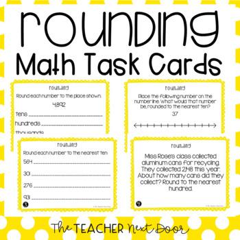 4th Grade Rounding Task Cards | Rounding Math Center | Rounding Game