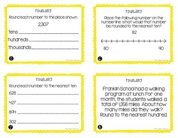 4th Grade Rounding Task Cards   Rounding Math Center   Rounding Game