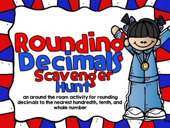 Rounding Decimals-Olympic Themed Looping Scavenger Hunt