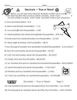 Rounding Decimals PLUS Writing Large Decimals True or False (5 Worksheets)