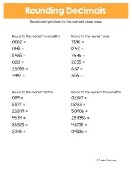 Rounding Decimals Worksheets and Infographic