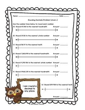 Rounding Decimals Worksheets for Rounding Decimals 5th Grade Math 5.NBT.4