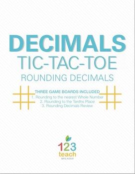 Rounding Decimals Review Activity - Partner Tic Tac Toe