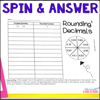 Rounding Decimals Spin and Answer Activity - DIFFERENTIATED