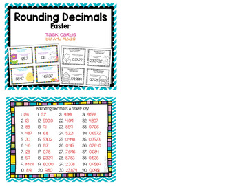 Rounding Decimals Task Cards - Easter - SCOOT