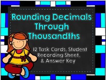 Rounding Decimals Task Cards-Set One-12 Task Cards