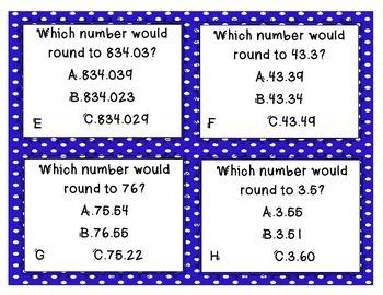 Rounding Decimals Task Cards (VA SOL Math 5.1, 4.3)