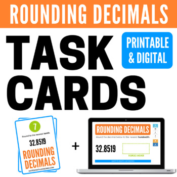 Rounding Decimals Task Cards and Boom Cards - FREE