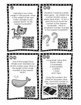 Rounding Decimals Task Cards enhanced with Augmented Reality & QR Codes 5.2C
