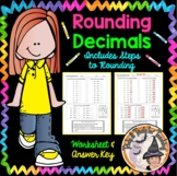 Rounding Decimals Tenths Hundredths Whole Numbers with Answer KEY