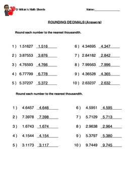 Rounding Decimals (Thousandths) With Answer Key