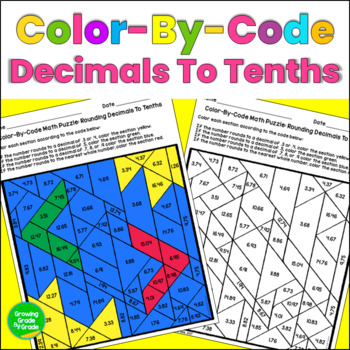 Rounding Decimals To Tenths Color By Code Math Puzzle