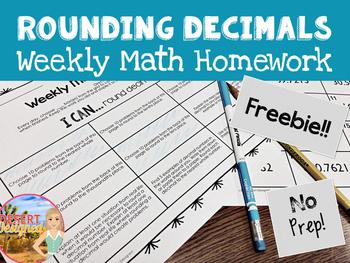 Rounding Decimals Weekly Math Homework