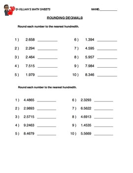 rounding decimals hundredths worksheet with answer key tpt. Black Bedroom Furniture Sets. Home Design Ideas