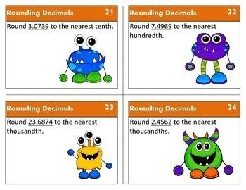 Rounding Decimals through Thousandths {Math Task Cards}