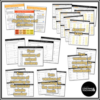 Rounding Decimals to the Nearest Whole Number, Tenth, and Hundredth Worksheets