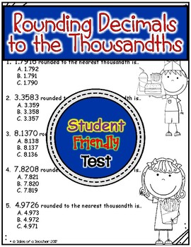 Rounding Decimals to the Thousandths Test