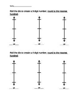 Rounding Dice Activity using Vertical Number lines 4.NBT.3, 3.NBT.A.1