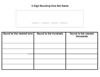 Rounding Dice Roll Game (includes 3 digits, 4 digits, and 6 digits)