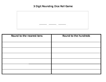Rounding Dice Roll Game (includes 3 digits, 4 digits, and