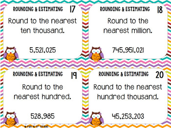 Rounding and Estimating Task Cards & Game