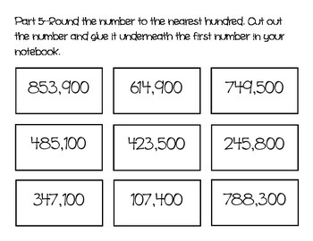 Rounding, Estimation, Place Value Matching Game
