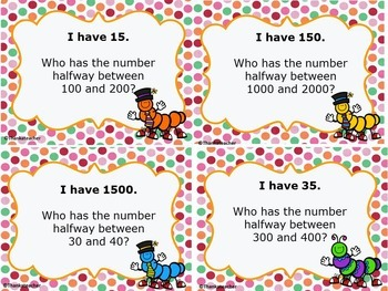 Rounding : Finding Halfway I Have... Who Has? Game Common Core 4th Grade